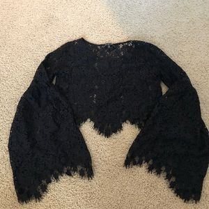 For love & lemons lace black crop top small